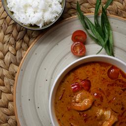 Curry Rojo, Camarones y Arroz Jazmin