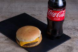 Combo Hamburguesa Queso +Bebida Coca Cola Variedades 591cc