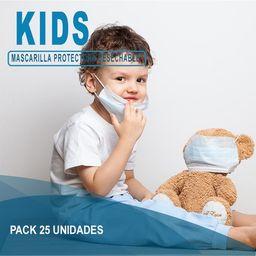 Mascarillas Desechables Niños Blanca 25 unidades