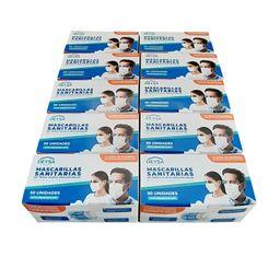 Pack de 10 Cajas Mascarillas 50 Un c/u (500 Un) Desechables