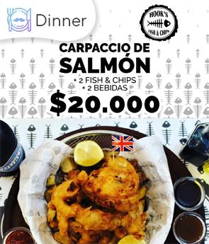 Carpaccio de salmón + 2 fish & chips + 2 bebidas