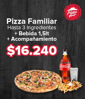 Pizza Familiar hasta 3 ingredientes + bebida 1,5lt + Acompañamiento $16.240
