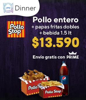 Pollo entero + papas fritas dobles + bebida 1.5lt $13.590